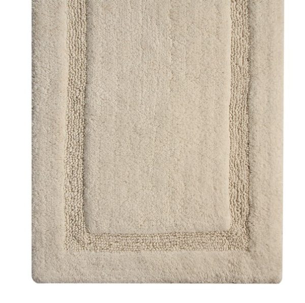Saffron Fabs Bath Rug Cotton, 34x21 In, Anti-Skid, Ivory, Textured Border, Washable, Regency