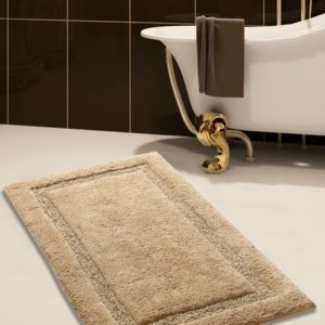 Saffron Fabs Bath Rug Cotton, 34x21 In, Anti-Skid, Beige, Textured Border, Washable, Regency