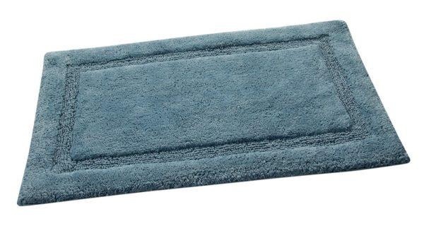 Saffron Fabs Bath Rug Cotton, 34x21 In, Anti-Skid, Arctic Blue, Washable, Regency