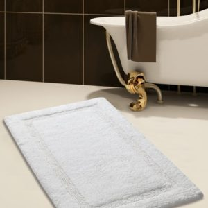 Saffron Fabs Bath Rug Cotton, 36x24 In, Anti-Skid, White, Textured Border, Washable, Regency