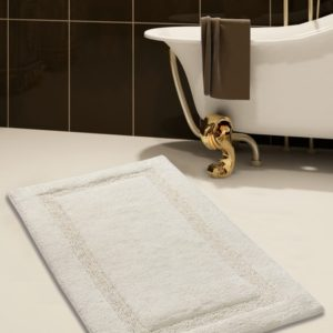 Saffron Fabs Bath Rug Cotton, 36x24 In, Anti-Skid, Ivory, Textured Border, Washable, Regency