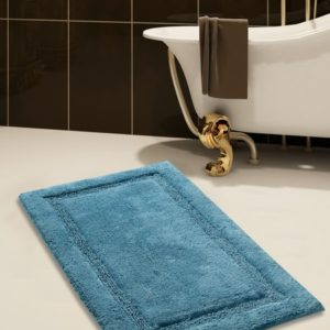 Saffron Fabs Bath Rug Cotton, 36x24 In, Anti-Skid, Arctic Blue, Washable, Regency
