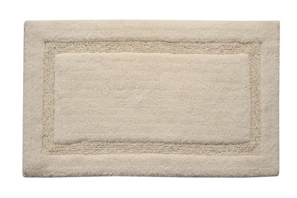 Saffron Fabs Bath Rug Cotton, 50x30 In, Anti-Skid, Ivory, Textured Border, Washable, Regency