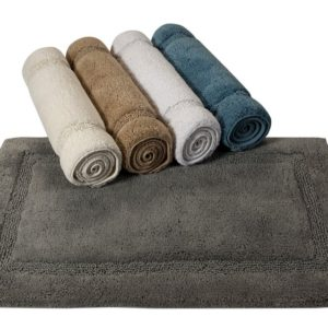 Saffron Fabs Bath Rug Cotton, 50x30 In, Anti-Skid, Gray, Textured Border, Washable, Regency