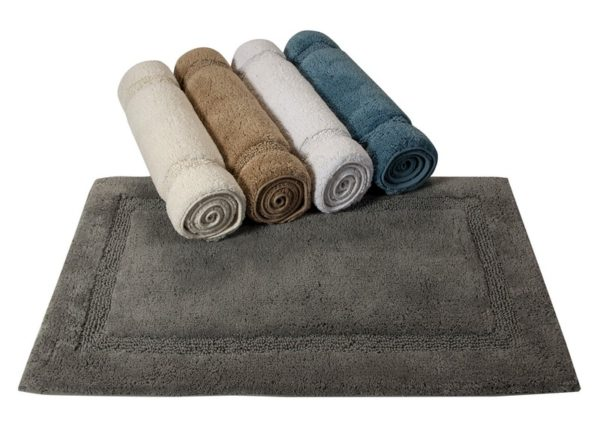 Saffron Fabs Bath Rug Cotton, 50x30 In, Anti-Skid, Arctic Blue, Washable, Regency