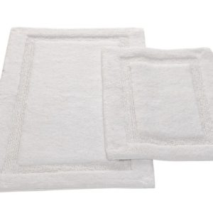 Saffron Fabs 2 Piece Bath Rug Set, Cotton, 24x17 and 34x21 Inch, Anti-Skid, White, Regency