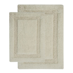 Saffron Fabs 2 Piece Bath Rug Set, Cotton, 24x17 and 34x21 Inch, Anti-Skid, Ivory, Regency