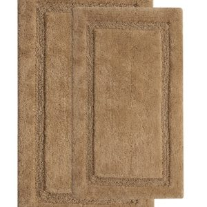 Saffron Fabs 2 Piece Bath Rug Set, Cotton, 24x17 and 34x21 Inch, Anti-Skid, Beige, Regency