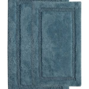 Saffron Fabs 2 Piece Bath Rug Set, Cotton, 24x17 and 34x21, Anti-Skid, Arctic Blue, Regency