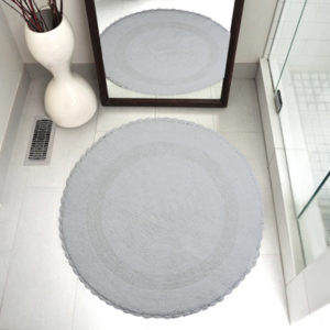 Saffron Fabs Bath Rug Cotton 36 Inch Round, Reversible, White, Crochet Lace Border, Washable