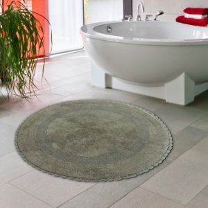 Saffron Fabs Bath Rug Cotton 36 Inch Round, Reversible, Gray, Crochet Lace Border, Washable