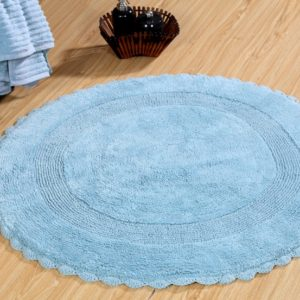 Saffron Fabs Bath Rug Cotton 36 Inch Round, Reversible, Arctic Blue, Crochet Lace Border