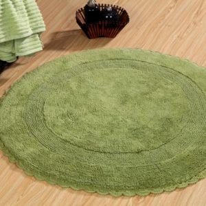 Saffron Fabs Bath Rug Cotton 36 Inch Round, Reversible, Sage Green, Crochet Lace Border