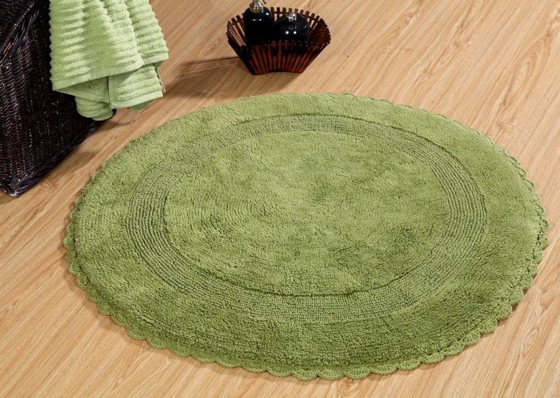 Saffron Fabs Bath Rug Cotton 36 Inch Round Reversible Sage Green