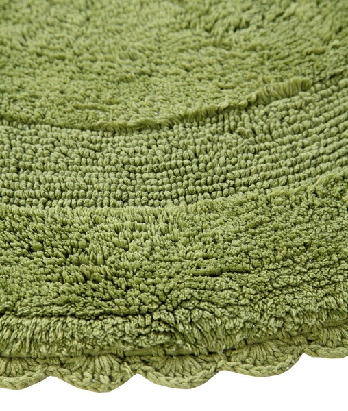 Saffron Fabs Bath Rug Cotton 36 Inch Round, Reversible, Sage Green, Crochet Lace Border