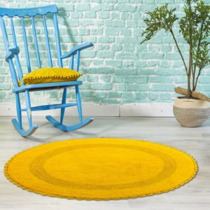 Saffron Fabs Bath Rug Cotton 36 Inch Round, Reversible, Yellow, Crochet Lace Border, Washable