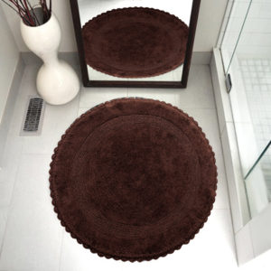 Saffron Fabs Bath Rug Cotton 36 Inch Round, Reversible, Chocolate, Crochet Lace Border