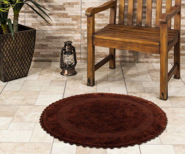Saffron Fabs Bath Rug Cotton 36 Inch Round, Reversible, Chocolate, Crochet Lace Border