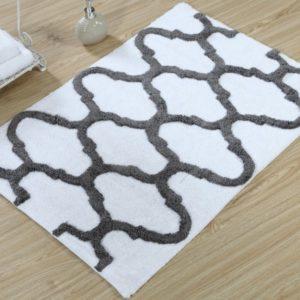 Saffron Fabs Bath Rug Cotton, 34x21 In, Anti-Skid, White/Gray, Geometric Pattern, Washable