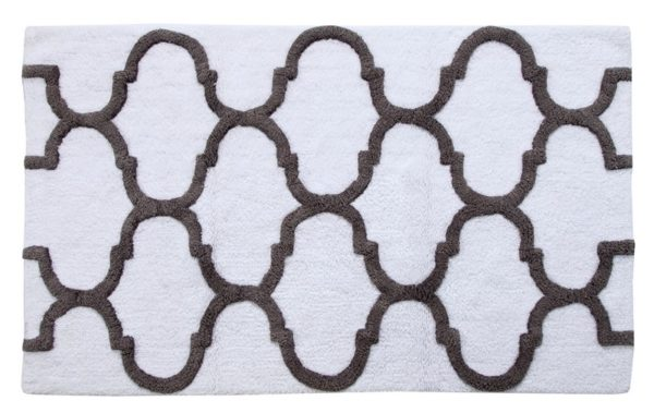 Saffron Fabs Bath Rug Cotton, 34x21 In, Anti-Skid, White/Gray, Geometric Pattern, Washable
