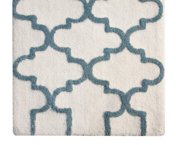 Saffron Fabs Bath Rug Cotton, 34x21 In, Anti-Skid, White/Arctic Blue, Geometric, Washable