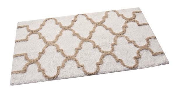 Saffron Fabs Bath Rug Cotton, 34x21 In, Anti-Skid, White/Beige, Geometric Pattern, Washable
