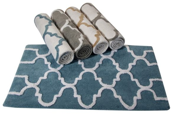 Saffron Fabs Bath Rug Cotton, 34x21 In, Anti-Skid, Arctic Blue/White, Geometric, Washable
