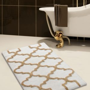 Saffron Fabs Bath Rug Cotton, 36x24 In, Anti-Skid, White/Beige, Geometric Pattern, Washable