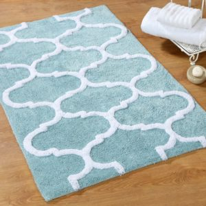 Saffron Fabs Bath Rug Cotton, 36x24 In, Anti-Skid, Arctic Blue/White, Geometric, Washable