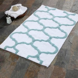 Saffron Fabs Bath Rug Cotton, 50x30 In, Anti-Skid, White/Arctic Blue, Geometric, Washable