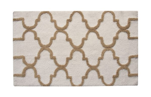 Saffron Fabs Bath Rug Cotton, 50x30 In, Anti-Skid, White/Beige, Geometric Pattern, Washable