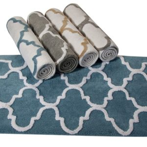 Saffron Fabs Bath Rug Cotton, 50x30 In, Anti-Skid, Gray/White , Geometric Pattern, Washable