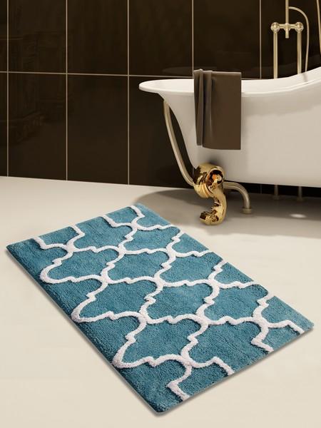 Saffron Fabs Bath Rug Cotton, 50x30 In, Anti-Skid, Arctic Blue/White, Geometric, Washable
