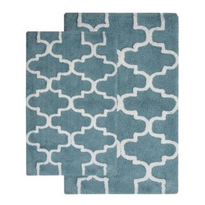 Saffron Fabs 2 Pc Bath Rug Set, Cotton, 24x17 and 34x21, Anti-Skid, Arctic Blue/White