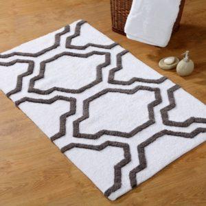 Saffron Fabs Bath Rug Cotton, 34x21, Anti-Skid, White/Gray, Washable, Quatrefoil