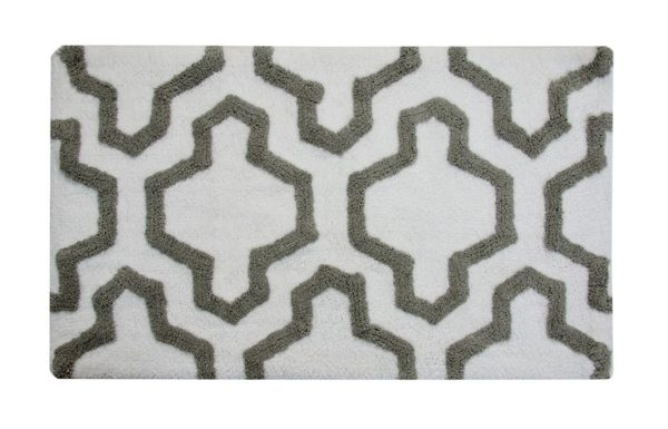 Saffron Fabs Bath Rug Cotton, 34x21, Anti-Skid, White/Gray, Washable, Quatrefoil