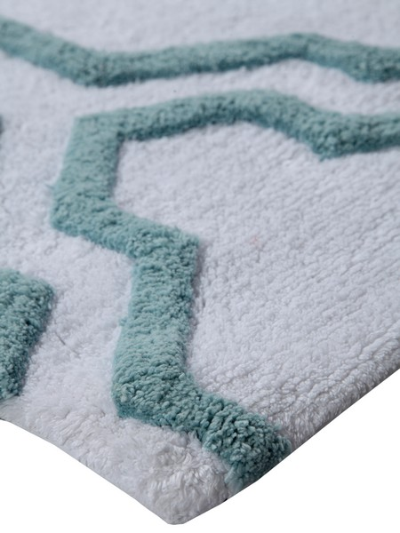 Saffron Fabs Bath Rug Cotton, 34x21, Anti-Skid, White/Arctic Blue,Washable Quatrefoil