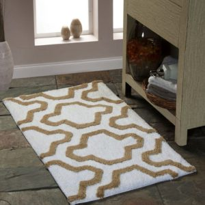 Saffron Fabs Bath Rug Cotton, 34x21, Anti-Skid, White/Beige, Geometric, Washable, Quatrefoil