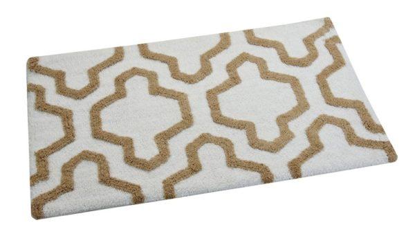 Saffron Fabs Bath Rug Cotton, 34x21, Anti-Skid, White/Beige, Geometric, Washable, Quatrefoil