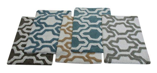 Saffron Fabs Bath Rug Cotton, 34x21, Anti-Skid, Gray/White, Geometric, Washable,Quatrefoil