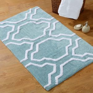Saffron Fabs Bath Rug Cotton, 34x21, Anti-Skid, Arctic Blue/White, Washable, Quatrefoil