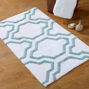 Saffron Fabs Bath Rug Cotton, 36x24, Anti-Skid, White/Arctic Blue ,Washable Quatrefoil
