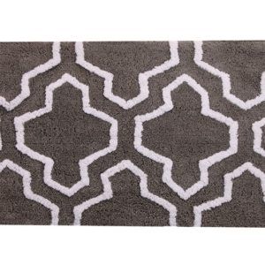 Saffron Fabs Bath Rug Cotton, 50x30, Anti-Skid, Gray/White, Geometric, Washable, Quatrefoil