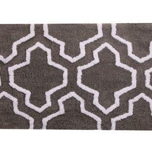 Saffron Fabs Bath Rug Cotton, 50x30, Anti-Skid, Gray/White, Geometric, Washable, Quatrefoil