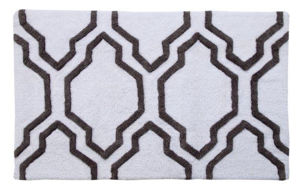 Saffron Fabs 2 Pc Bath Rug Set, Cotton, 24x17 and 34x21, Anti-Skid, White/Gray, Geometric