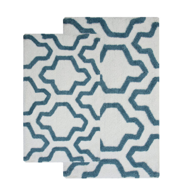 Saffron Fabs 2 Pc Bath Rug Set, Cotton, 24x17 and 34x21, Anti-Skid, White/Arctic Blue