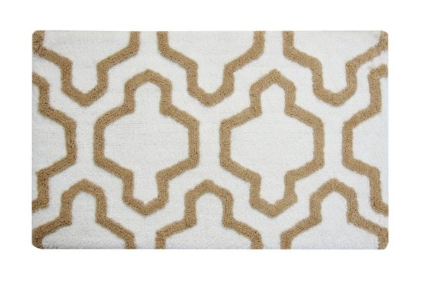 Saffron Fabs 2 Pc Bath Rug Set, Cotton, 24x17 and 34x21, Anti-Skid, White/Beige, Quatrefoil