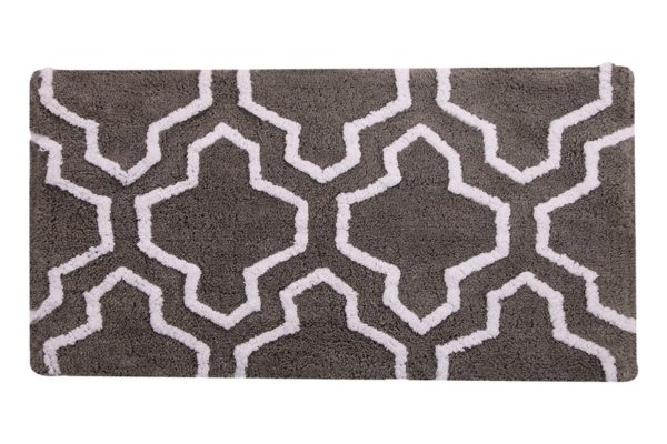 Saffron Fabs 2 Pc Bath Rug Set, Cotton, 24x17 and 34x21, Anti-Skid, Gray/White, Quatrefoil
