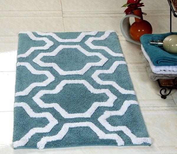 Saffron Fabs 2 Pc Bath Rug Set, Cotton, 24x17 and 34x21, Anti-Skid, Arctic Blue/White