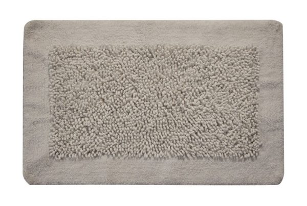 Saffron Fabs Bath Rug, Cotton and Chenille, 34x21 In, Anti-Skid, White, Long Noodle Loops